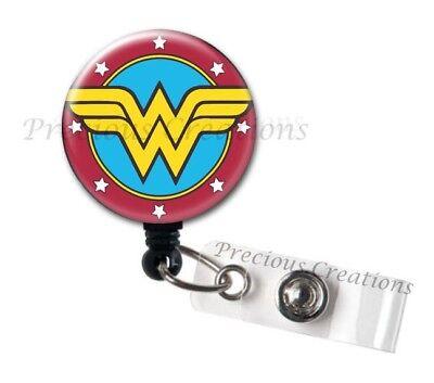 (1 x Wonder Woman ID Badge Reel Holder Clip Retractable RT Tech Nurse Xray Hero)