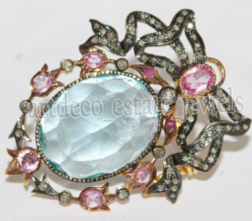 1.82ct ROSE CUT DIAMOND TOPAZ TOURMALINE ANTIQUE 925 SILVER VALENTINE BROOCH