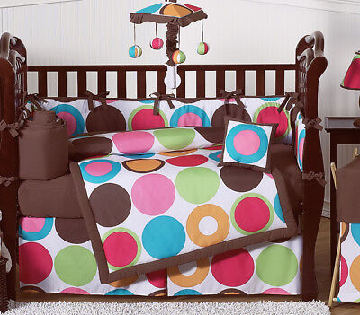 Modern Polka Dot Baby Bedding Collection Crib Set for Newborn Girl Sweet (Modern Dot Crib)