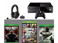 xbox one with headset and games