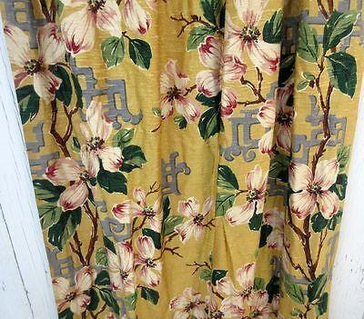 Vintage MCM Atomic Geometric Barkcloth Bark Cloth Window Curtains Drapes Valance