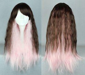 NEW Deluxe 70cm Gradient Pink-Brown Cosplay Wig (460-0563)