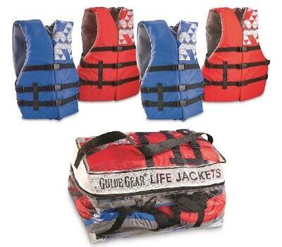 Adult Life Jacket 4-Pack  Universal Preserver USCG Type III Fishing Boating Vest Uscg Life Vests