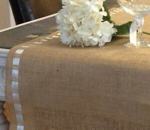 12 x 72 1 foot by 6 feet burlap ribbon trim table runner for 12 ft table runner