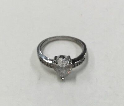 Cubic Zirconium Large Silver Tone with Smaller CZ in Band Ring Size 10 Cubic Zirconium Silver Bands