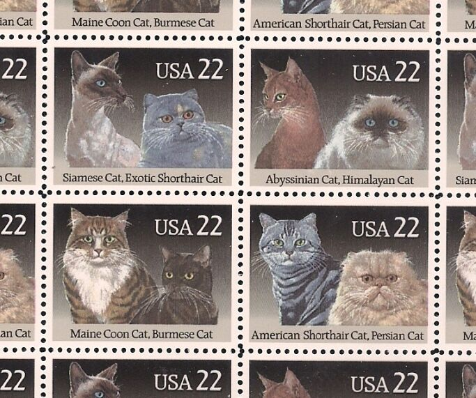 1988 - DOMESTIC CATS - #2372-75 Full Mint -MNH- Sheet of 40 Postage Stamps