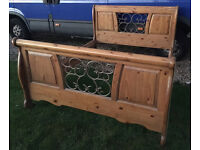 Heavy pine king size bed with iron detail stunning