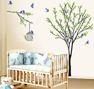 90 60cm Tree With Birdcage Bird Branch Wall Decals Sticker
