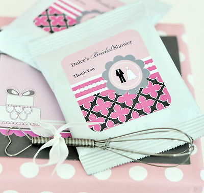 48 Personalized Wedding Shower Theme Hot Cocoa Mix Pouches Wedding Favors  Chocolate Theme Bridal Shower