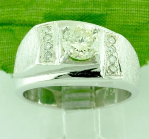 Pre Owned  0.65 Ct 14k Solid White Gold Mens Diamond Ring  7.4 Gram