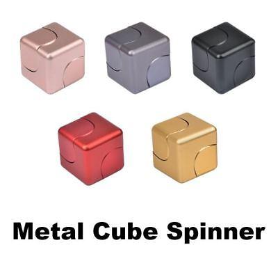 - (2 Pack) Cube Fidget Spinner Aluminum Alloy Premium Quality EDC Focus Toy