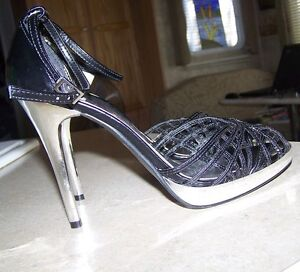 Women's Stiletto Heels, NEW - Black/Sliver heels, Ankle strap