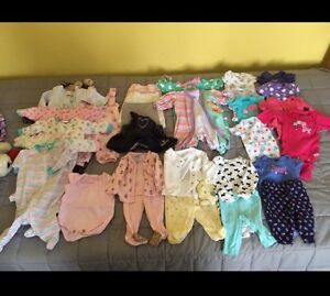 Newborn baby girl clothes + some 0-3 months