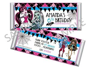Details about Monster High Candy Bar Wrappers - Party Favors - Set of ...