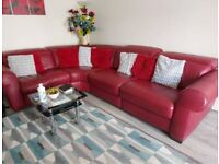 Real leather corner recline sofa with foot stall