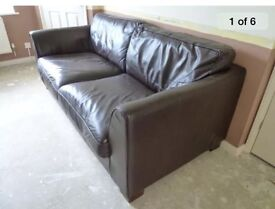 Chocolate brown sofa armchair and footstool, quick sale needed
