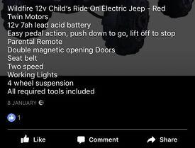 Electric kids remote control 4x4 jeep