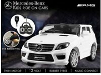 Licensed Mercedes ML63 ride on car with remote control RUBBER WHEELS (leeds) only £190