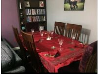 Extendable solid wood table and 6 chairs