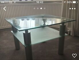 Square glass tea table