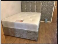 NI-LUXURY Crushed Velvet Divan bed sets on SALE with mattress and Free Headboard