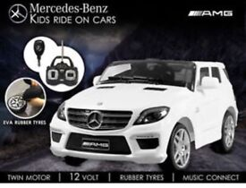 Licensed Mercedes 12v ML63 ride on car with remote control RUBBER WHEELS (leeds) only £190