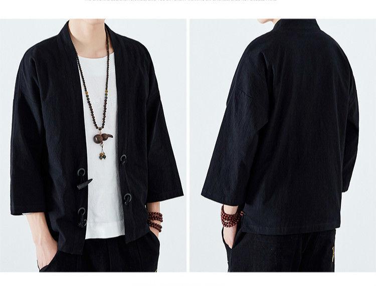 Japanisch Damen Locker Stickerei Strickjacke Kimono Mantel Leinen Baumwolle
