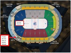 6 seats in a row - Vancouver Canucks Home Games - Corners