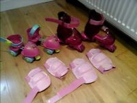2 x Girls Rollers skates and New pads.