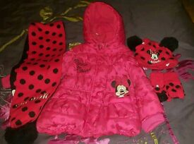 Disney Minnie Mouse age 2-3 lined coat with matching scarf, gloves and bobble hat