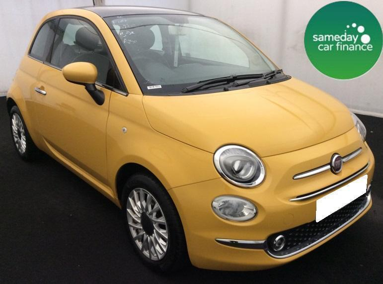 £159.26 PER MONTH YELLOW 2016 FIAT 500 1.2 LOUNGE 3 DOOR PETROL MANUAL