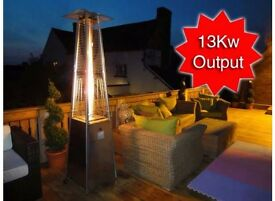 Stylish Outdoor Patio Gas Heater 13kw with Dancing Flame - Stainless Steel