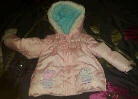 Peppa pig age 2-3 fleece lined coat