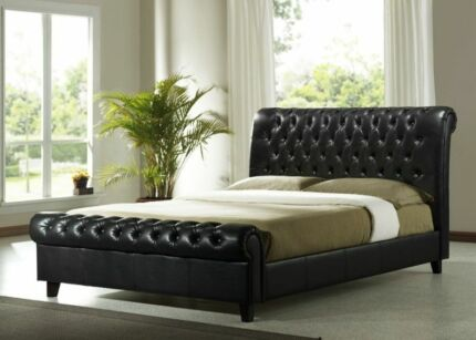 King Leather Bed Bed Black pu Leather Frame