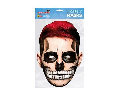 Day of the Dead Red Zombie Male Single 2D Card Party Face Mask - Halloween  (Day Of The Dead Zombie Halloween Mask)
