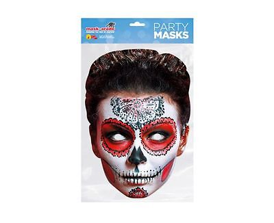 Day of the Dead Red Zombie Female Single 2D Card Party Face Mask - Halloween  (Day Of The Dead Zombie Halloween Mask)
