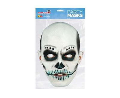 Day of the Dead White Zombie Male Single 2D Card Party Face Mask - Halloween (Day Of The Dead Zombie Halloween Mask)