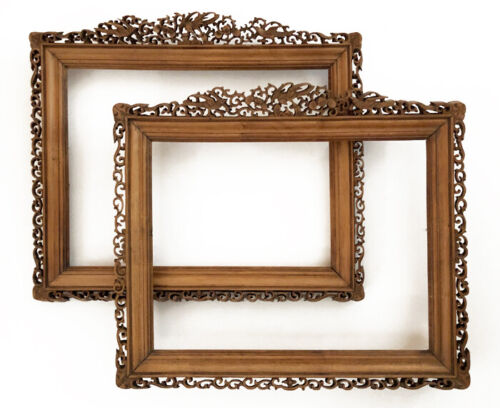 Pair Vintage Late 19th Century Carved Chinese Boxwood Frames