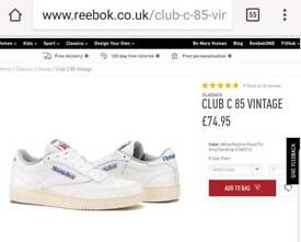 New Reebok Size UK10 Club C 85 Vintage