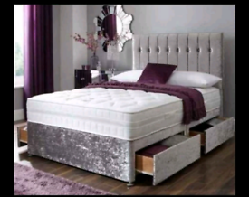DOUBLE SILVER CRUSHED VELVET COMPLETE BED SET WITH 2 DRAWERS
