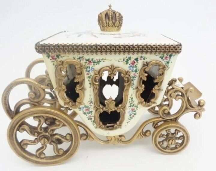 19C Vienna Enamel Miniature Coach ~Pastoral Couple, Lambs and Dog