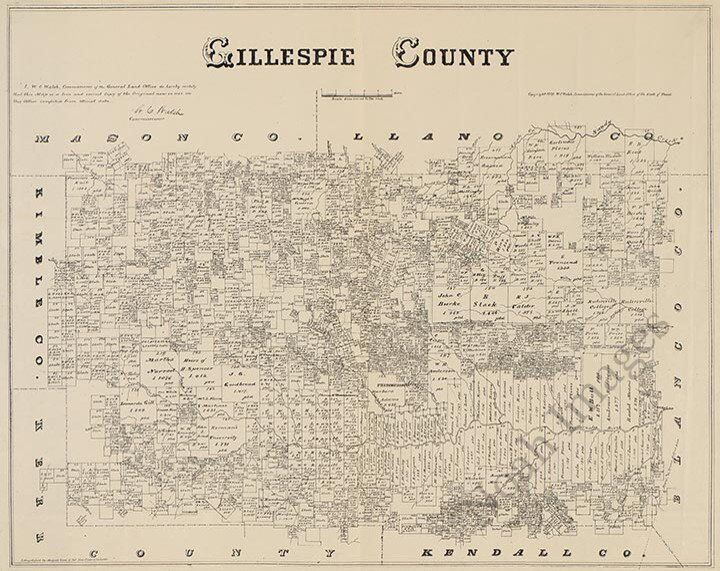 Map of Gillespie County TX c1879 repro 24x20