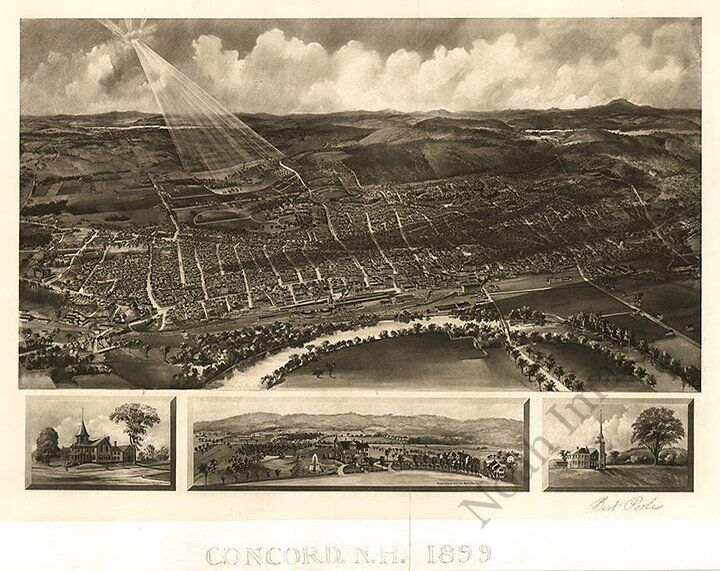 Map of Concord New Hampshire panorama c1899 24x30