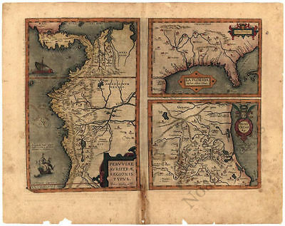 Map Of Southern America And Florida C1584 20x16 - $9.95