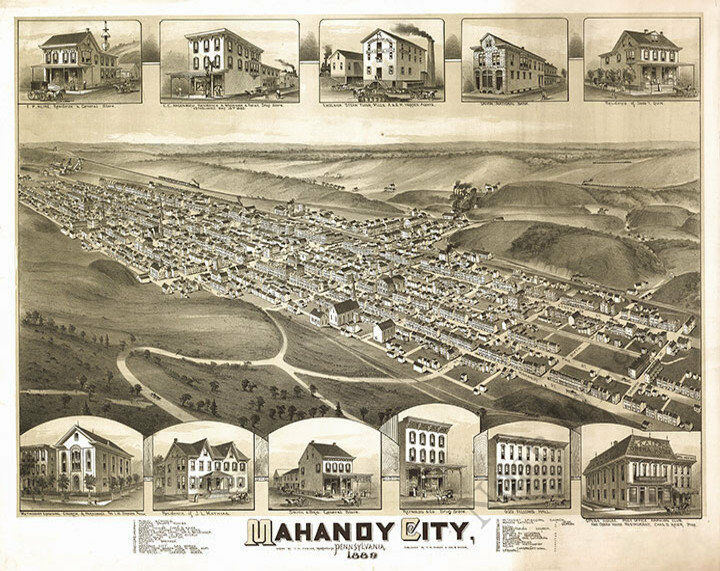Mahanoy City PA c1889 30x24
