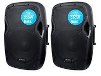 "2 x KAM Active Powered 12"" 250 Watt PA Speakers or Monitors - un-used"