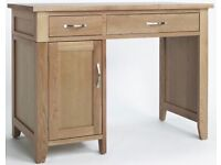 Solid oak desk with 2 drawers, 1 cupboard with additional custom-made tempered glass