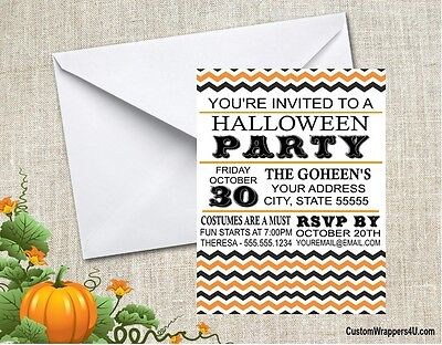 Halloween Chevron Costume Party Invitations Personalized Custom](Halloween Costume Party Invite)