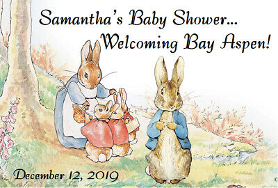 PETER RABBIT BABY SHOWER ANY EVENT PERSONALIZED PARTY STICKERS Labels FAVORS
