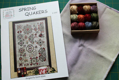 Rosewood Manor Spring Quakers Chart.Valdani threads.Linen.Worldwide shipping. World Linen Pattern